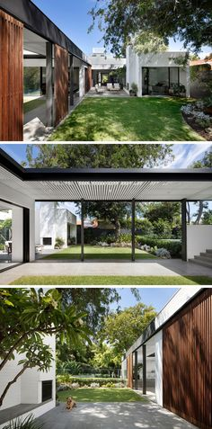 This modern backyard has multiple levels. Stepping down from the swimming pool, is a small grassy area under a tree, and next to the lawn is an outdoor lounge focused on a fireplace.