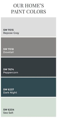 Interior Design IdeasTransitional Home Color Scheme: Sherwin Williams SW7015 Repose Gray. Sherwin Williams SW7018 Dovetail. Sherwin Williams SW7674 Peppercorn. Sherwin Williams SW6237 Dark Night. Sherwin Williams SW6204 Sea Salt. by sonia