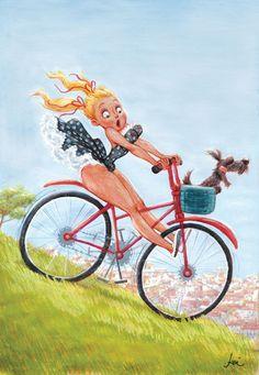 Cartoon Pin up cartoon girl on bike Girl Cartoon, Cartoon Art, Bicycle Art, Bicycle Design, Cycling Art, Cycling Quotes, Cycling Jerseys, Sexy Cartoons, Pin Up Art
