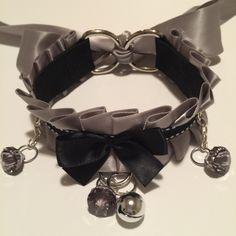 Grey and Black BDSM Kitten Play Collar by TheFlirtyKitten on Etsy