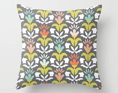 Floral Pillow, Floral Pillow Cover, Flower Pillow, Flowers Throw Pillow, Tulips Pillow, Pillow Sham, Gray Pillow, Pink flower, red, blue by peppermintcreek. Explore more products on http://peppermintcreek.etsy.com