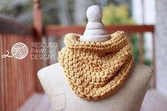 One Hour Crochet Cowl Pattern by Rescued Paw Designs www.rescuedpawdesigns.com