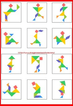 Kindergarten Activities, Teaching Math, Preschool Activities, Geometric Shapes Art, Tangram Puzzles, Shape Art, Pattern Drawing, Math Resources, Pattern Blocks