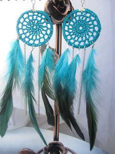 crochet turquoise dreamcatcher earrings.