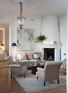 Residence Interior, Fireplace — Christian's & Hennie - www. Interior Work, Interior Design Studio, My Living Room, Fireplaces, Norway, Christianity, Family Room, Sweet Home, Room Ideas