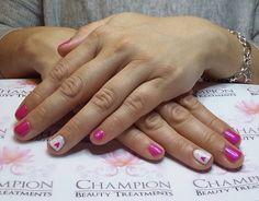 A dry manicure complete with CND Shellac 'Tutti Frutti' & 'Studio White' nail polish.