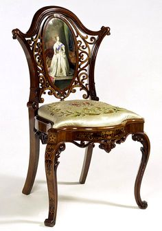 Walnut, Carved And Inlaid With A Worcester Porcelain Plaque Of The Queen   c.1851