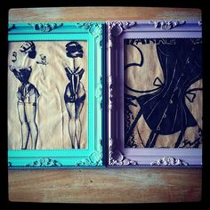 John Willie printouts, tea stained.   In colourful frames from urban outfitters  New room decor..!