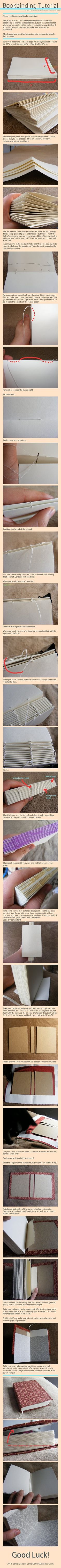 DIY- Bookbinding tutorial~ How to bind your own art journal, book, photo album, cookbook, etc. notebook diy handmade journals Bookbinding Tutorial by JamesDarrow on DeviantArt Diy Projects To Try, Craft Projects, Craft Ideas, School Projects, 31 Ideas, Creative Ideas, Food Ideas, Fun Crafts, Paper Crafts