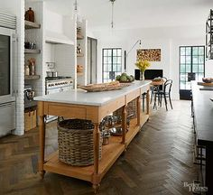 Open kitchen: Interior design, remodel, and expansion of a classic french tudor style home on country club. Interior by Summer Thornton Design French Country Kitchens, Modern Farmhouse Kitchens, Home Kitchens, Kitchen Modern, Long Kitchen, Farmhouse Style, Dream Kitchens, Rustic Farmhouse, Deco Design
