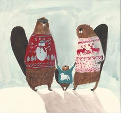 'Beaver Family Christmas Card', Kirsten Sims, from THE MIDDLE OF NOWHERE, CANADIAN EDITION on Behance