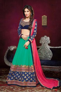 Buy Green Georgette Designer Lehenga Online in low price at Variation. Huge collection of Designer Lehenga, Wedding Lehenga, Lehenga Choli, Ghaghra Choli, Bollywood Lehenga and Bridal Lehenga online for women at Variation. #designer #designerlehenga #lehenga #onlineshopping #latest #lowprice #variation  #weddinglehenga #lehengacholi #bollywoodlehenga #bridallehenga. To see more - https://www.variationfashion.com/collections/lehenga