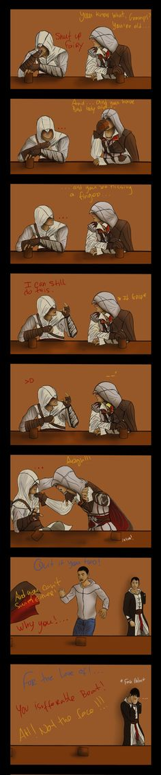 "Drunk Altair and Ezio get into a fistfight. ""Drunk Time Paradox FTW"" by NevanAnxa on DeviantArt.com."