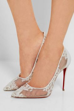 Christian Louboutin | Follies 100 leather-trimmed lace pumps | NET-A-PORTER.COM