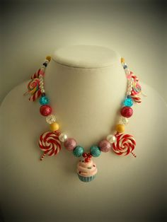 Cupcake Lollipop Candy Land Necklace by twistedlollyboutique