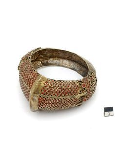 Indonesia | A gilded silver bracelet from the Batak people of Menangkabau.