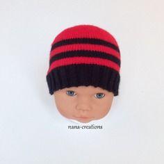 Bonnet bébé tricoté en laine layette 0 3 mois aux couleurs du rtc toulon  rouge et d426117a31f