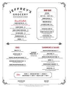 Brunch Menu : Jeffrey's Grocery, West Village, New York City