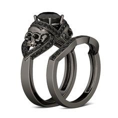 Jeulia 2.0 CT Round Cut Created Black Diamond Skull Ring  - Jeulia Jewelry