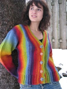 Lucy Neatby--Venus Rising Cardigan - shown in Effektgarn by Kauni - Written for a fingering yarn Navaho-knitted with your fingers, but you could also use a single bulky weight