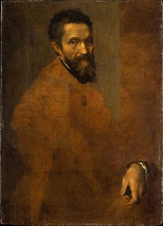 "Michelangelo Buonarroti (1475–1564) portrait by -  Daniele da Volterra ca. 1544.  This unfinished portrait has recently been identified as the work of Daniele da Volterra, Michelangelo's faithful follower and the author of a bronze bust of the great Florentine artist. Indeed, an inventory drawn up after Daniele's death lists ""a portrait of Michelangelo on panel."""