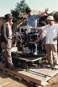 """""""Indiana Jones"""" shoot (1981) with Steven Spielberg and Harrison Ford"""