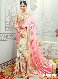 Buy cream and pink satin and silk embroidered, fancy work and patch border indian wedding wear saree. This indian wedding wear saree is prettified with attractive embroidered, fancy work and patch border. Indian Bridal Sarees, Indian Wedding Wear, Indian Designer Sarees, Indian Sarees Online, Designer Sarees Online, Bridal Lehenga, Saree Wedding, Bollywood Wedding, Wedding Dresses