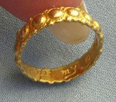"Gold poesy ring.....ca. 1680....inscribed...""ACCEPT MY GOOD WILL"""