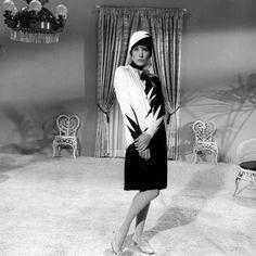 Julie Andrews modelling her Thoroughly Modern Millie dress