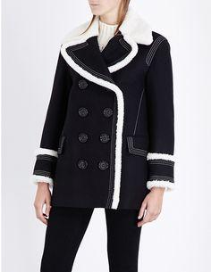 BURBERRY Colstead shearling-trim wool-blend coat