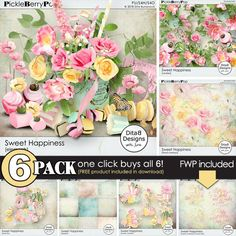 DitaB Designs: Sweet happiness 6 pack& FWP contains:40 elemen...