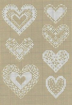 Rainbow of stitches hearts