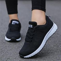 Fast delivery Women casual shoes fashion breathable Walking mesh lace up flat shoes sneakers women 2019 tenis feminino - Schuhe Sneakers Mode, Casual Sneakers, White Sneakers, Sneakers Fashion, Fashion Shoes, Addidas Sneakers Women, Cool Womens Sneakers, Adidas Black Sneakers, Sneakers Design