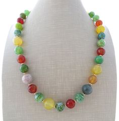 Agate necklace green stone necklace multicolor necklace