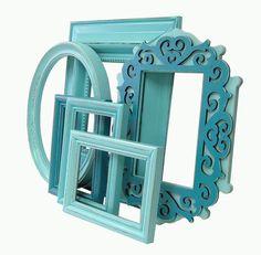Aqua Home Decor   Shabby Chic Picture Frames Turquoise Aqua Picture Frame Set Home Decor