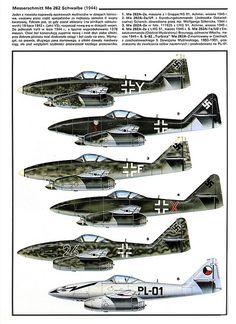 Messerschmitt Me 262 variants color
