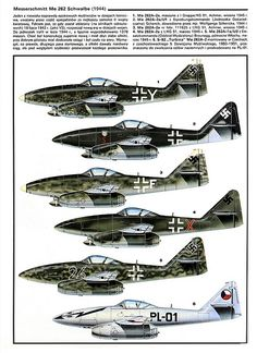 Messerschmitt Me 262 variants color. First production jet aircraft operated by German Luftwaffe during WWII