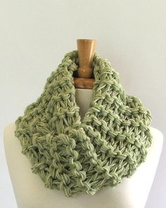 Chunky Knit Marbled Green Long Infinity Cowl Scarf by AMarieKnits, $32.00