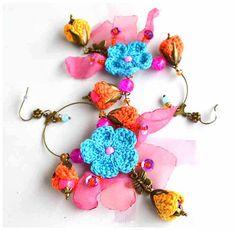 crochet earrings,butterfly earrings,crochet jewelry,flower earrings,quirky boho earrings,round boho hoops,crochet hoops,ooak gift for her