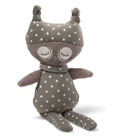 Entirely devoted to cuddling, the sweet Oakley owl is dressed in polka dot pajamas and a stocking cap to bring ultrasoft charm into the bedroom or nursery.