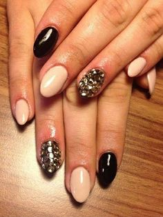 Love these! nudes and black! Nails Inspiration