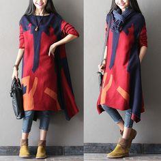 Thickened Irregular Stitching Dresses - love the artsy feel