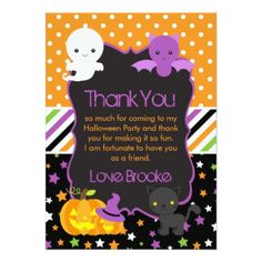 #Halloween Party Spooky Characters Thank You Card - #birthday #invitations