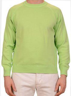 RUBINACCI Napoli Solid Neon Green Cotton Crewneck Ribbed Sweater NEW
