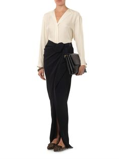 Lanvin AW14 V-neck satin-crepe blouse