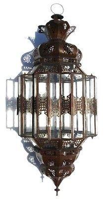 Moroccan Clear Glass Lantern Hanging Rustic Metal Chandelier Lamp
