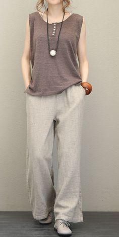 Vintage Thicken Linen Wide Leg Pants For Women - Women Clothes dre. - Vintage Thicken Linen Wide Leg Pants For Women – Women Clothes dress vintage dress aesthetic dress Linen Dresses, Women's Dresses, Vintage Dresses, Casual Dresses, Casual Outfits, Casual Pants, Mode Outfits, Fashion Outfits, Fashion Women