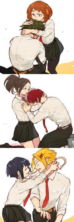 Midoriya Izuku x Ochako Uraraka. Todoroki Shouto x Yaoyorozu Momo. Kaminari Denki x Kyoka Jiro Boku No Hero Academia, My Hero Academia Memes, Manga Anime, Tamako Love Story, Fanart, Kawaii, I Love Anime, Anime Ships, Anime Couples