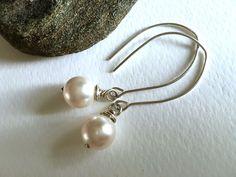 Radiant Swarovski PowerPearls™ .925 silver-handmade https://www.etsy.com/listing/263239771/modern-earrings-white-pearl-earrings #etsymntt #bridesmaids #weddingjewelry