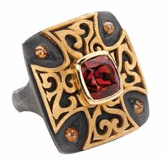 Alishan Halebian - 18k yellow gold and oxidized sterling silver textured ring with natural color rose cut diamonds and a cushion spessartitel garnet in the center.
